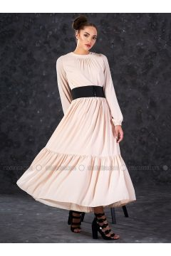 Beige - Crew neck - Fully Lined - Dresses - Eda Atalay(110331466)