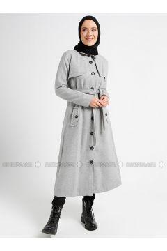 Gray - Unlined - Point Collar - Coat - CASHCARA(110338803)