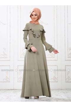 Green - Crew neck - Unlined - Dresses - SomFashion(110329275)