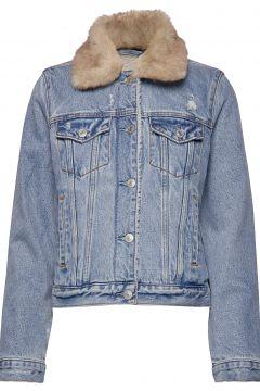 Sherpa Collar Denim Coat Jeansjacke Denimjacke Blau ABERCROMBIE & FITCH(114157084)