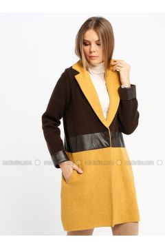 Brown - Mustard - Fully Lined - Shawl Collar - Wool Blend - Jacket - Sementa(110337035)