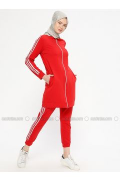 Red - Cotton - Tracksuit Set - Marwella(110332566)