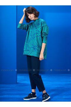 Polo neck - Multi - Green - Navy Blue - Sweat-shirt - Mevra(110333667)