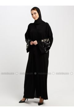 Black - Unlined - V neck Collar - Abaya - AL SHEIKHA(110329961)