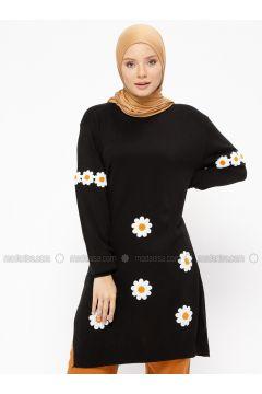 Black - Floral - Crew neck - Acrylic - Tunic - Veteks Line(110314100)