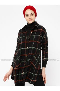 Black - Plaid - Point Collar - Tunic - SELLY(110330481)