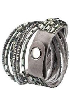 Wickelarmband mit Kristallen KLiNGEL Grau(111493944)