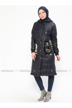 Navy Blue - Fully Lined - Crew neck - Puffer Jackets - Mileny(110314006)