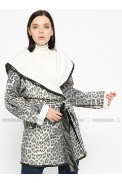 Gray - Leopard - Unlined - Shawl Collar - Coat - Pitti Collection(110322906)