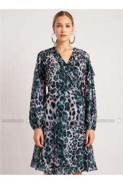 Emerald - Leopard - V neck Collar - Dresses - NG Style(110341226)