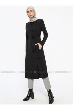 Black - Unlined - Shawl Collar - Trench Coat - Tavin(110330904)