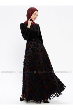Black - Multi - Fully Lined - Crew neck - Muslim Evening Dress - Robir(110320685)