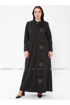 Black - Crew neck - Unlined - Plus Size Abaya - ECESUN(110337590)
