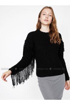 Black - Polo neck - Acrylic -- Jumper - Koton(110323770)