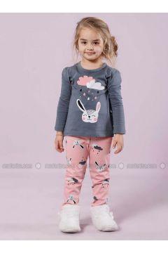 Gray - Crew neck - Multi - Kids Pijamas - Siyah inci(110313166)