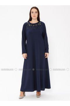 Navy Blue - Unlined - Crew neck - Plus Size Dress - EFE FERACE(110337660)