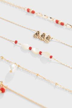 Stradivarius Lot 5 bracelets de cheville perle FEMME Jaune 103(116577277)