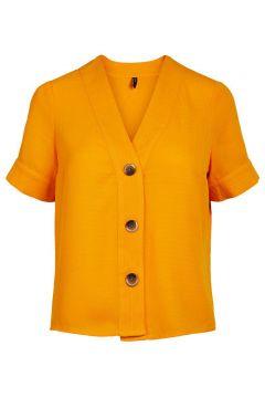 Y.A.S V-ausschnitt Kurzarmhemd Damen Gelb(116330749)