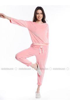 Salmon - Crew neck - Cotton - Pyjama - Pamuk&Pamuk(110323061)