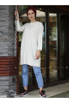 Beige - Crew neck - Cotton - Acrylic -- Jumper - Lysa Studio(110332821)