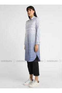 Blue - Stripe - Point Collar - Tunic - MY MOOD(110339220)