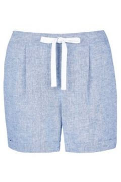 Blue Chambray Shorts with Linen(84382202)