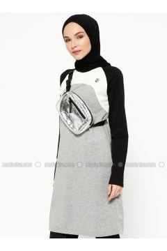 Black - Gray - Crew neck - Tracksuit Top - Elif Okur(110315173)