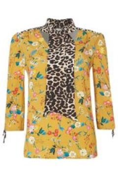 Oui Floral and leopard tie blouse - Yellow(110459001)
