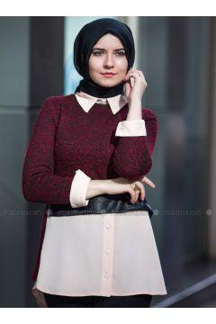 Red - Point Collar - Blouses - An-Nahar(110339237)