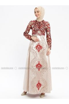 Maroon - Multi - Fully Lined - Crew neck - Muslim Evening Dress - Robir(110320657)