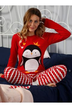 Red - Crew neck - Multi - Pyjama - Elitol(110328437)