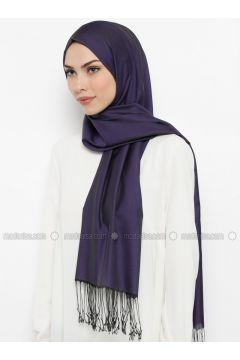 Purple - Plain - Fringe - Shawl - Levi`dor(110337705)