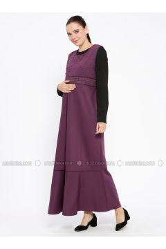 Plum - Crew neck - Unlined - Maternity Dress - Havva Ana(110313993)