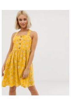 QED London - Hübsches Sommerkleid mit Knopfleiste und gelbem Blumenmuster - Mehrfarbig(95026209)