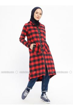 Red - Navy Blue - Checkered - Unlined - Topcoat - CASHCARA(110336159)