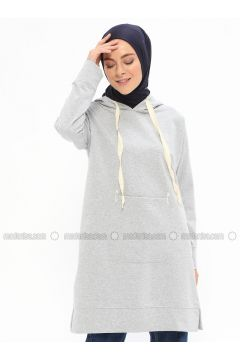 Cotton - Gray - Sweat-shirt - İLMEK TRİKO(110321762)