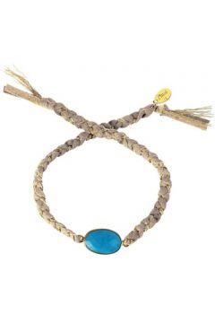 Bracelets Nilaï Cordon en Métal Doré et Turquoise Bleu Femme(88560722)