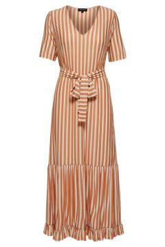 SELECTED V-ringad - Midiklänning Kvinna Beige; Orange(116912988)