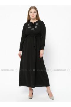 Black - Unlined - V neck Collar - Plus Size Dress - SUEM(110315285)