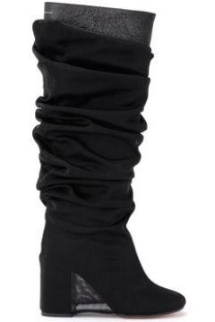 Bottes Mm6 Maison Margiela Botte en cuir noir avec revêtement voilé(115648267)