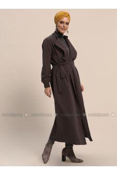 Gray - Unlined - Shawl Collar - Trench Coat - Refka(110321999)