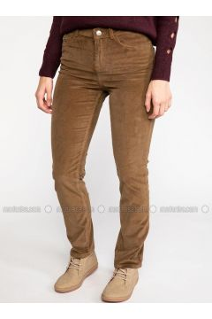 Brown - Pants - DeFacto(110325611)