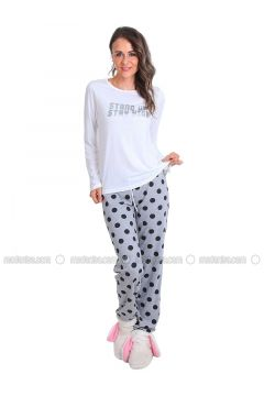 White - Crew neck - Polka Dot - Pyjama - Meliana(110314574)
