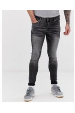 Jack & Jones - Enge Spray-on-Jeans in verwaschenem Schwarz - Schwarz(89512676)