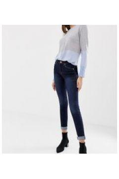 Oasis - Jeans skinny a vita medio alta lavaggio scuro-Blu(112790599)