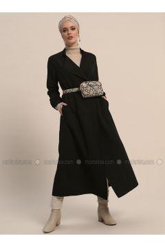 Black - Unlined - Shawl Collar - Trench Coat - Refka(110321998)