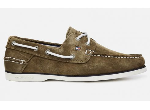 Tommy Hilfiger Men\'s Classic Suede Boat Shoes - Olive Night - UK 7 - Grün(90301510)