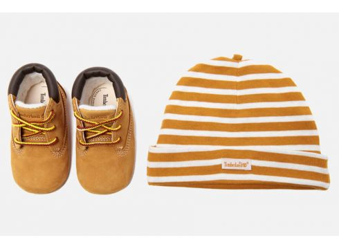 Timberland Babies\' Crib Bootie with Hat Gift Set - Wheat - UK 0.5 Baby - Tan(68698493)
