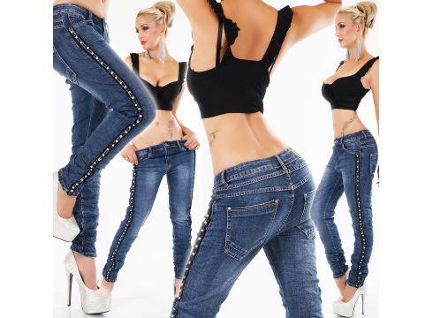 Bleached Röhre Jeans Knitter-Style Perlen Streifen(93574112)