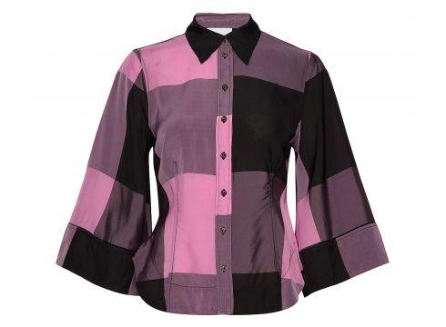 Viscose Check Langärmliges Hemd Pink GANNI(99275572)